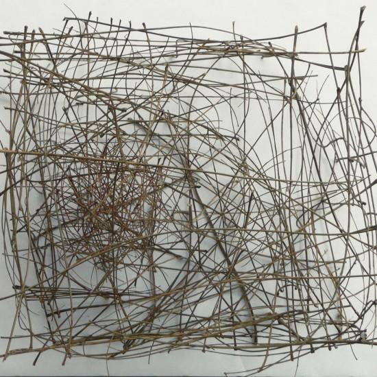 Große Zeichnung 25 Det. 2, Eschenblattstiele, 60 x 60 x 60 cm, 2010